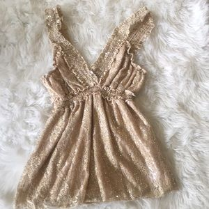 Rue 21 Gold Sequined Top